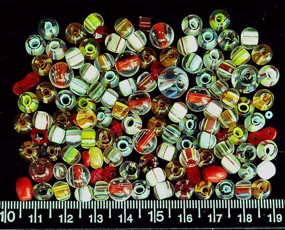 Multicolor glass beads mixed size round beads  (over 100 bead lot)