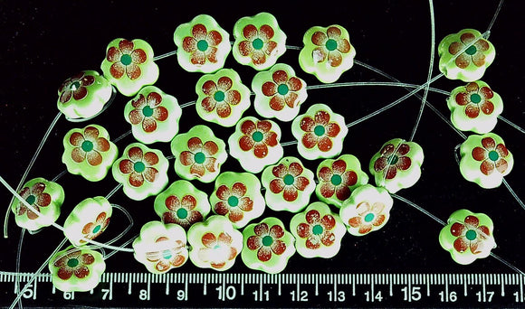 Green ceramic with red flower 14mm flower beads (strand of 6 beads)