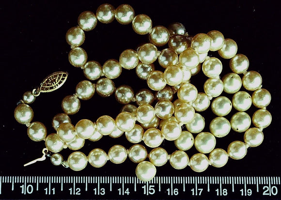 Champagne 6mm round glass pearl beads  (24 inch strand plus extra loose beads)