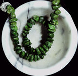 Chalk Turquoise dark apple green polished XL chip beads  15 inch strand