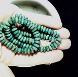 Dark green chalk turquoise 6mm x 9mm capsule shape beads 15 inch strand