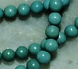 Chalk turquoise green/blue 5mm round beads 14 inch strand