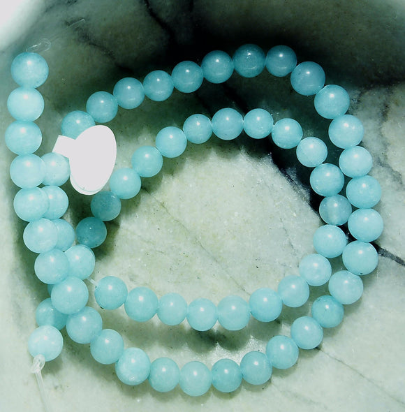 Blue Amazonite 6mm polished round beads  15 inch strand