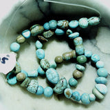 Blue/green powder turquoise mixed shape beads  15 inch strand