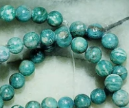 Blue/green powder turquoise 5mm polished round beads  15.5 inch strand