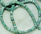 Green/blue turquoise 2mm x 3mm rondelle beads  16 inch strand