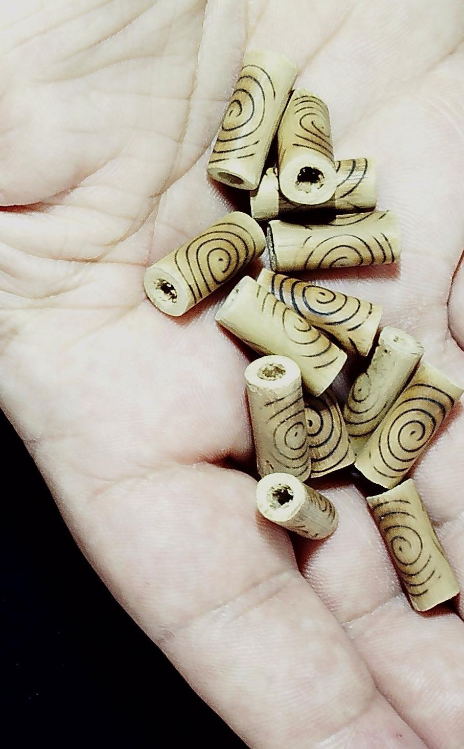 Wood beads with burnt circle pattern (set of 12 beads)