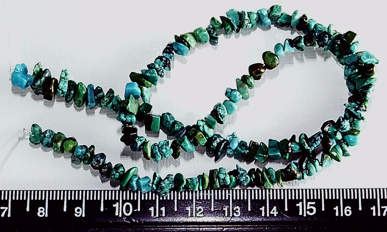 Blue/green/black polished turquoise chip beads 14 inch strand