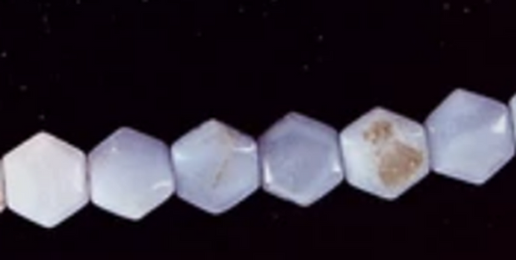 Pale Blue Lace Agate six-sided flat beads  15 inch strand
