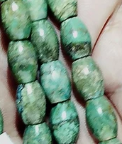 Turquoise green/blue barrel beads  1 strand