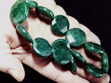 Aventurine faceted flat round dark green beads 1 strand