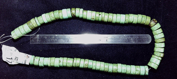 Green chalk turquoise varied width x 12mm wheel beads 15 in strand