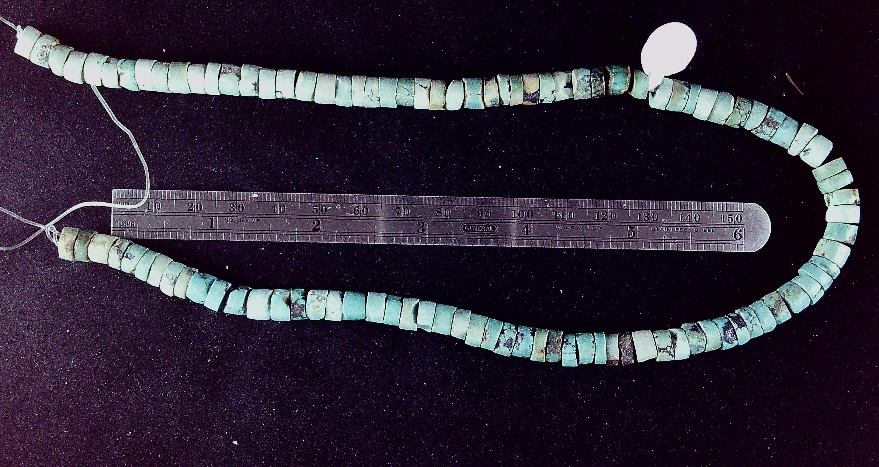 Blue/green/brown turquoise 6mm rondelle beads  16 inch strand