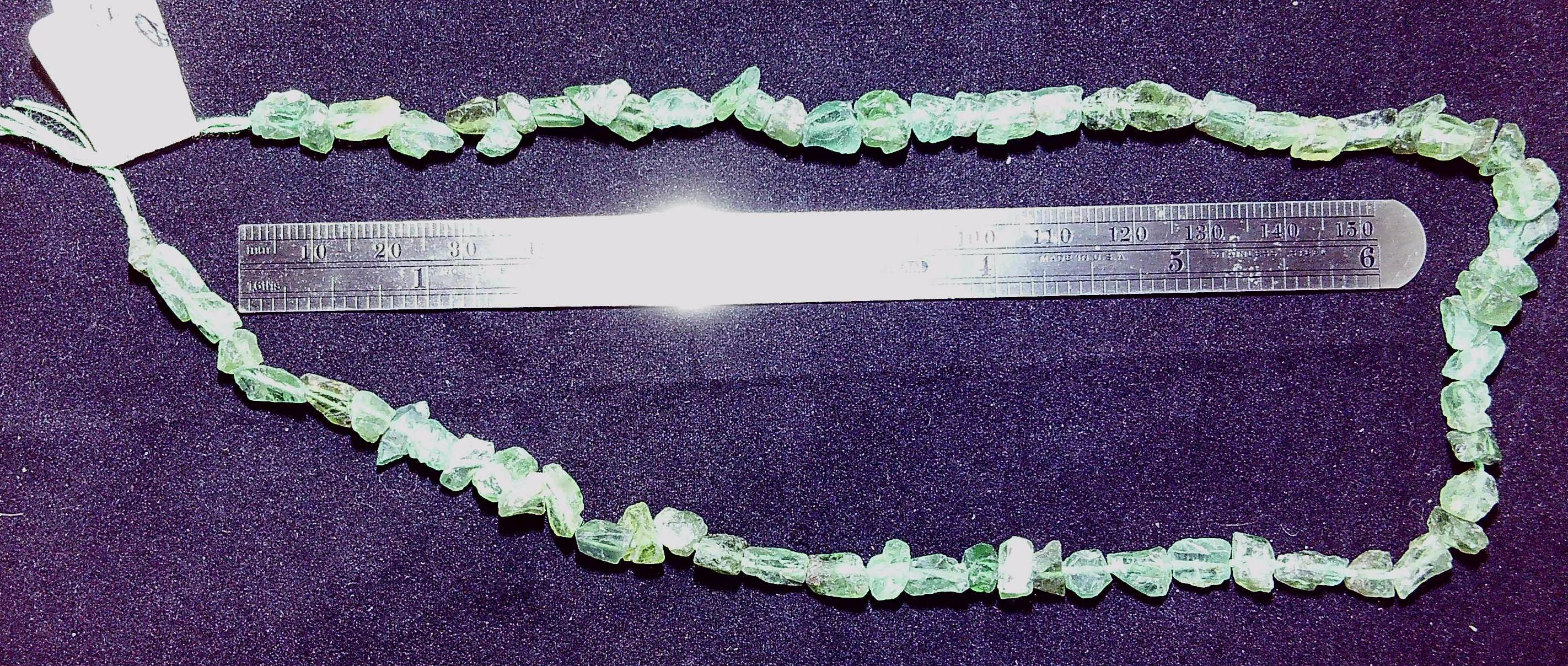 Blue/green Natural Rare Apatite rough chip beads 16 inch strand