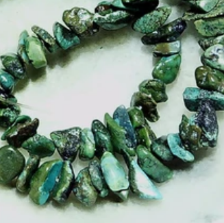 Dark green turquoise chip beads  15 inch strand
