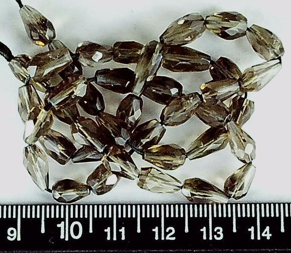 Smokey quartz 9-10mm faceted teardrop beads 16 inch strand