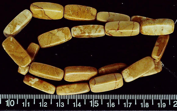 Ochre yellow marble rounded 8mm x 20mm rectangle beads (15 inch strand)