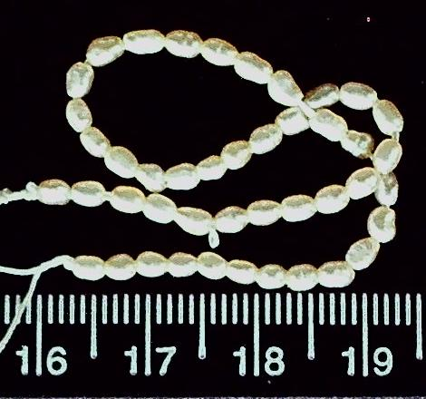 Cream freshwater 3mm x 1mm oval pearl beads (5.5 inch strand)
