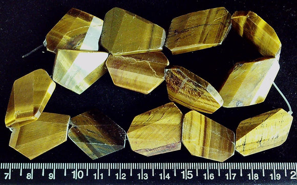 Tiger Eye Agate flat polygon beads to 16mm  (15 inch strand)