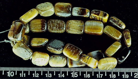 Tiger Eye agate 15mm x 10mm rectangular beads  (15 inch strand)