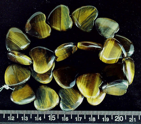 Tiger Eye agate 20mm puffed heart beads (15 inch strand)
