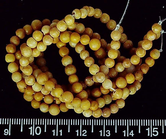 Yellow marble 3mm-4mm round beads (two 16 inch strands=32 inches)