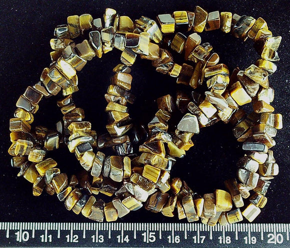 Brown marble polished medium  chip beads (34 inch strand)