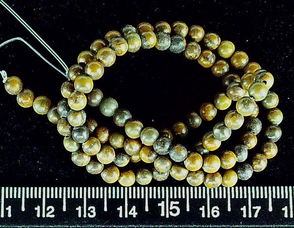 Brown/green chrysanthemum stone  4mm polished round beads  (14 inch strand)