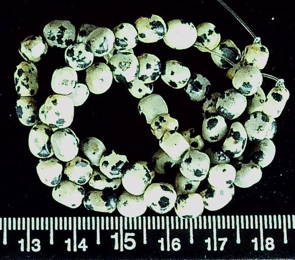 Dalmation jasper polished 7mm nugget beads (15 inch strand)