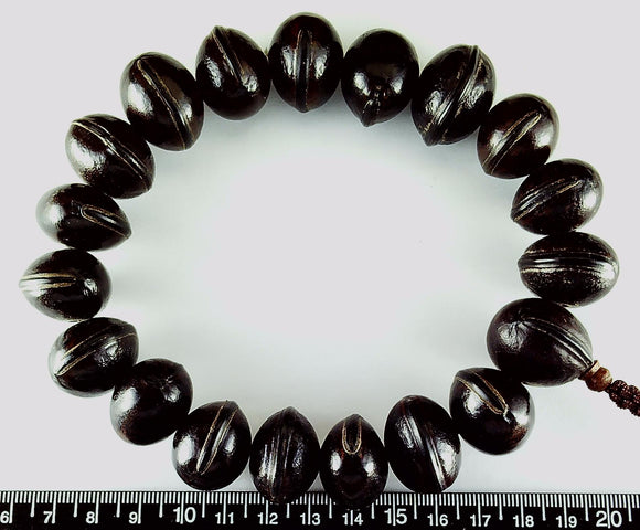 Dark brown nut 15mm x 22mm beads  12 inch strand