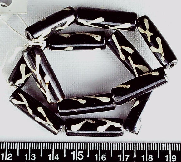 Dark brown and cream pattern bone 24mm round tube beads (two 6 inch str=12 inches)
