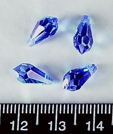 Blue AB Swarovski crystal 10mm briolette beads (pack of 4)