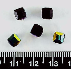 Black opaque AB Swarovski crystal 5mm faceted cube beads (pack of 5)