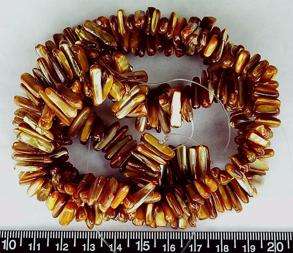Golden brown mother of pearl stick beads  (two sizes, matched 14 in strands)
