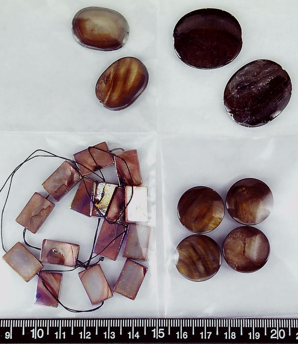 Brown mother of pearl mixed shape bead  (23 beads total)  15@ 15mm x10mm flat AB rectangle plus 2@ 25mm x 17mm oval plus 2@ 35mm x 25mm oval plus 4@ 20mm circle