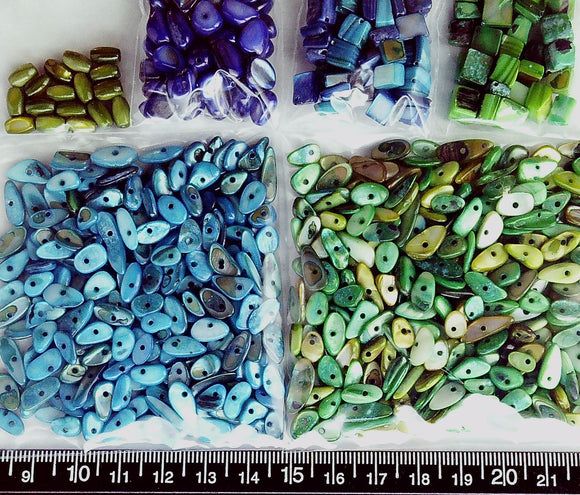 Greens and blues mother of pearl mixed shape beads  (six colors, 146 g)