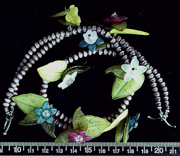 Epoxy and glass leaves and flowers double necklace 14 inches, sterling toggle clasp