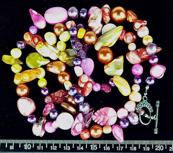 Pink purple and orange freshwater and glass pearl 29 inch necklace sterling toggle clasp
