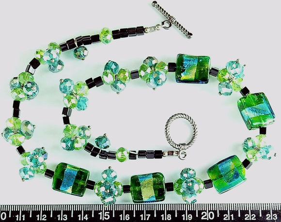 Blue and green with black glass 16 inch necklace with pewter toggle clasp