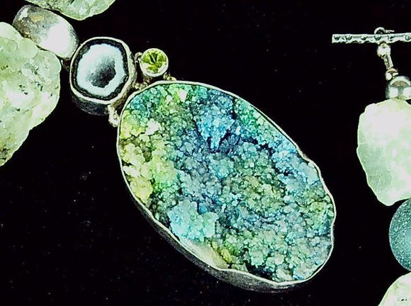 Gorgeous blue green azur mali  druzy 18 inch necklace with 3 inch pendant and sterling toggle clasp