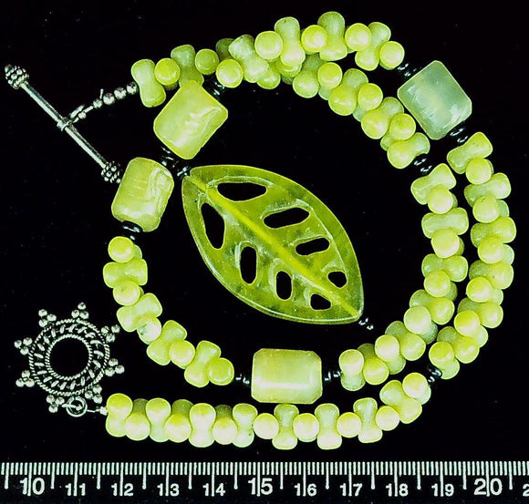 Green peridot jasper  with 2 inch peridot jasper carved  leaf pendant 16 inch necklace and sterling toggle clasp