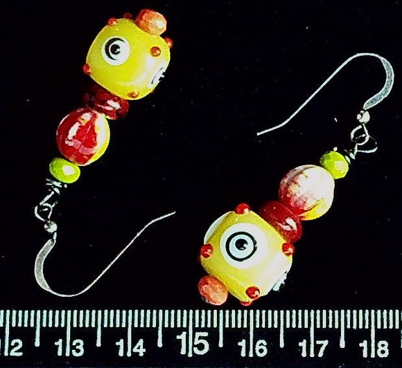 Bright ceramic and glass earrings on sterling silver fishhooks (drop 33mm)