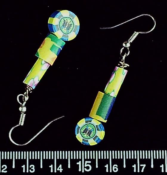 Yellow/blue/green polymer clay on stainless steel fishhook earrings (drop length 30mm)
