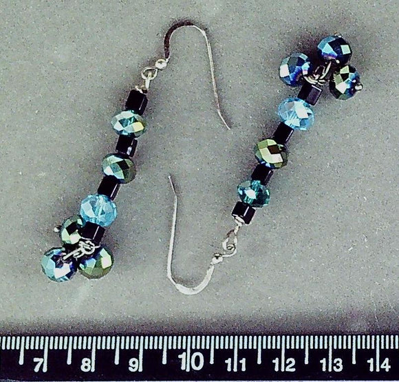 Blue glass on pewter fishhook earrings (drop length 45mm)
