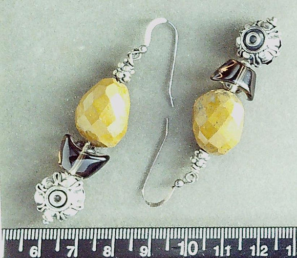 Quartz and jasper on sterling fishhook earrings (drop length 50mm)