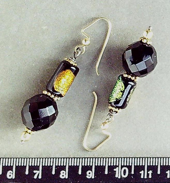 Dichroic glass on 14K gold filled decorative fishhook earrings (drop length 35mm)