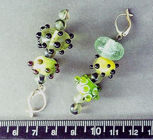 Green lampwork glass on 14K gold filled clasp earrings (drop length 45mm)