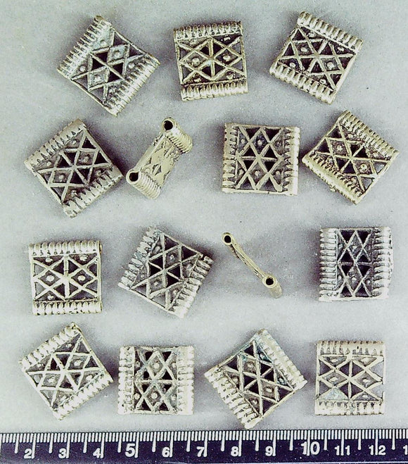 African brass? double-channel rectangle beads 20mm x 22mm (15 beads)
