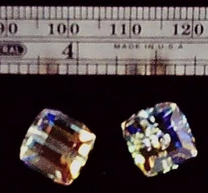 Swarovski Crystal AB 8mm cube 2 bead small lot