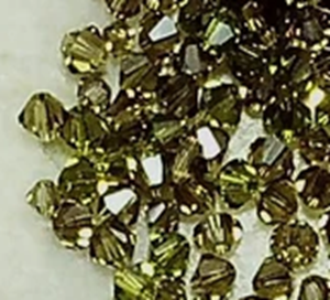 Olive green Swarovski crystal 2mm and 3mm bicone mix (2 sizes) 150-175 beads
